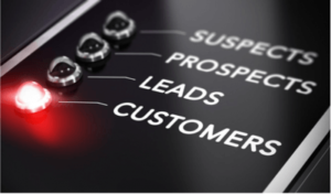 Menu with buttons for suspects, prospects, leads and customers