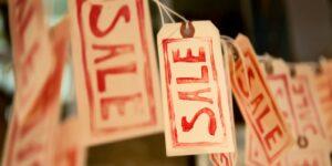 Sale tags on a line