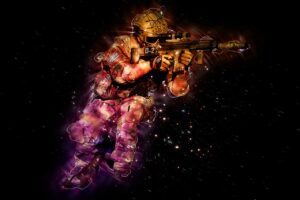 Image of an armed soldier on a black background