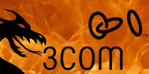 Dragon in front of fire with 3com logo