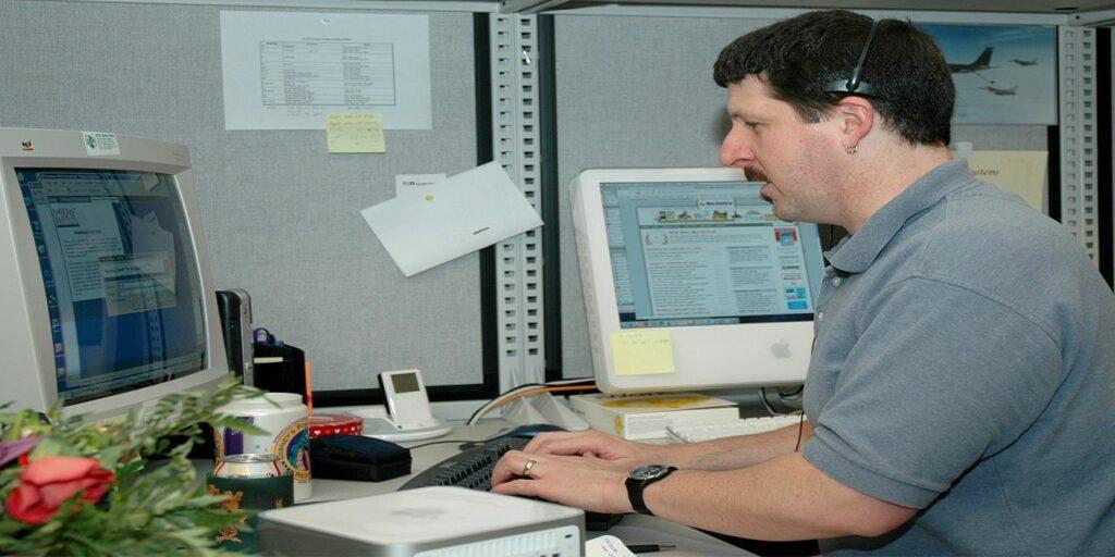 man transcribing transcription business