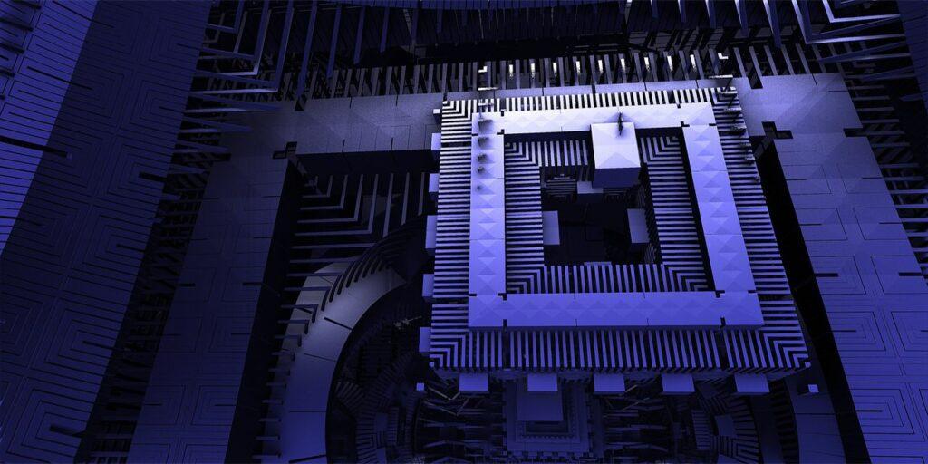 Quantum Background Computer Render 3D Technology