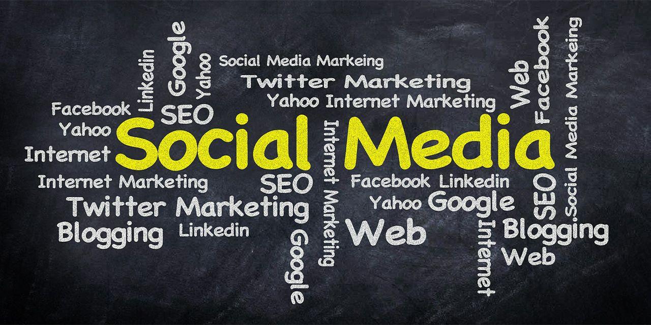 social media marketing world cloud internet word