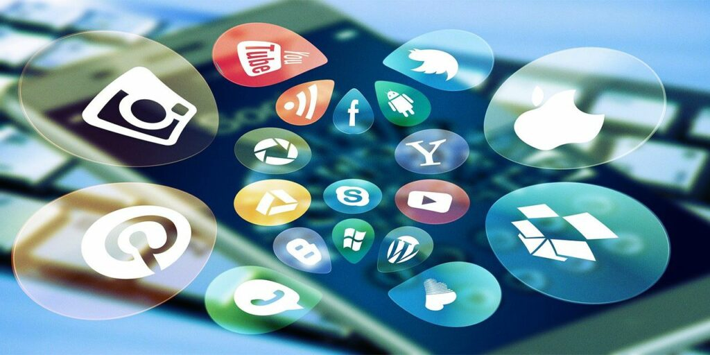 social media social apps keyboard icon smartphone media