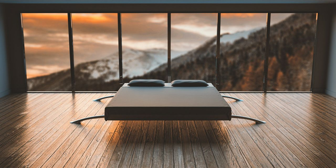 parquet floor black and white mattress