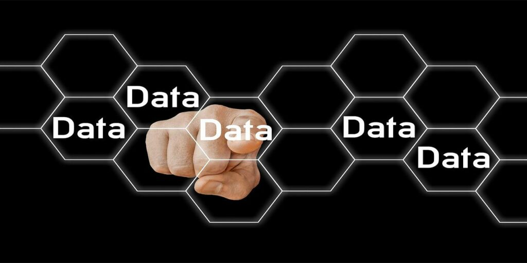 data blockchain honeycomb hexagon computer hand