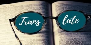 book glasses translate translation foreign language