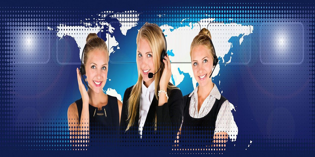 call center headset woman service connecting