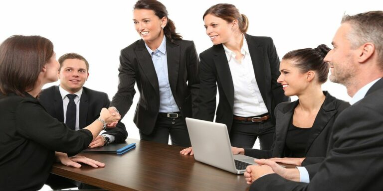 men employees suit work greeting business office
