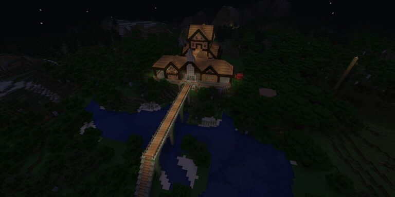 minecraft night exterior house bridge