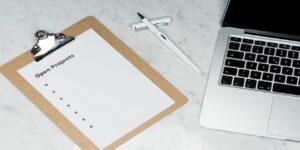 open projects clipboard pen computer