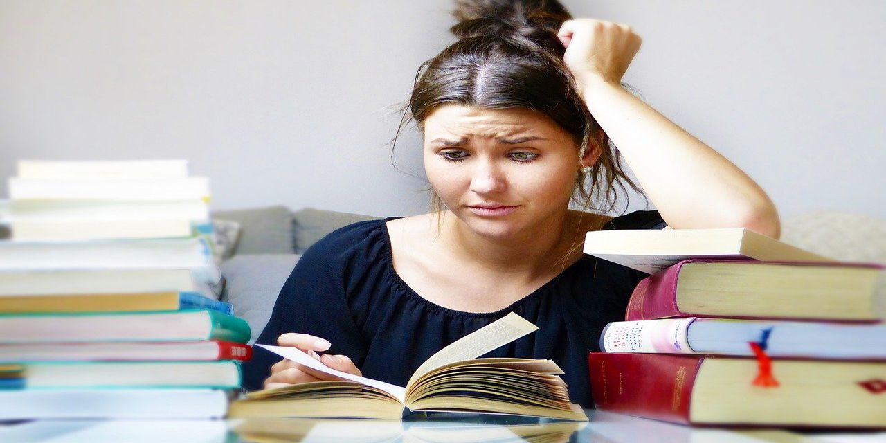 books woman girl young people study learn stress