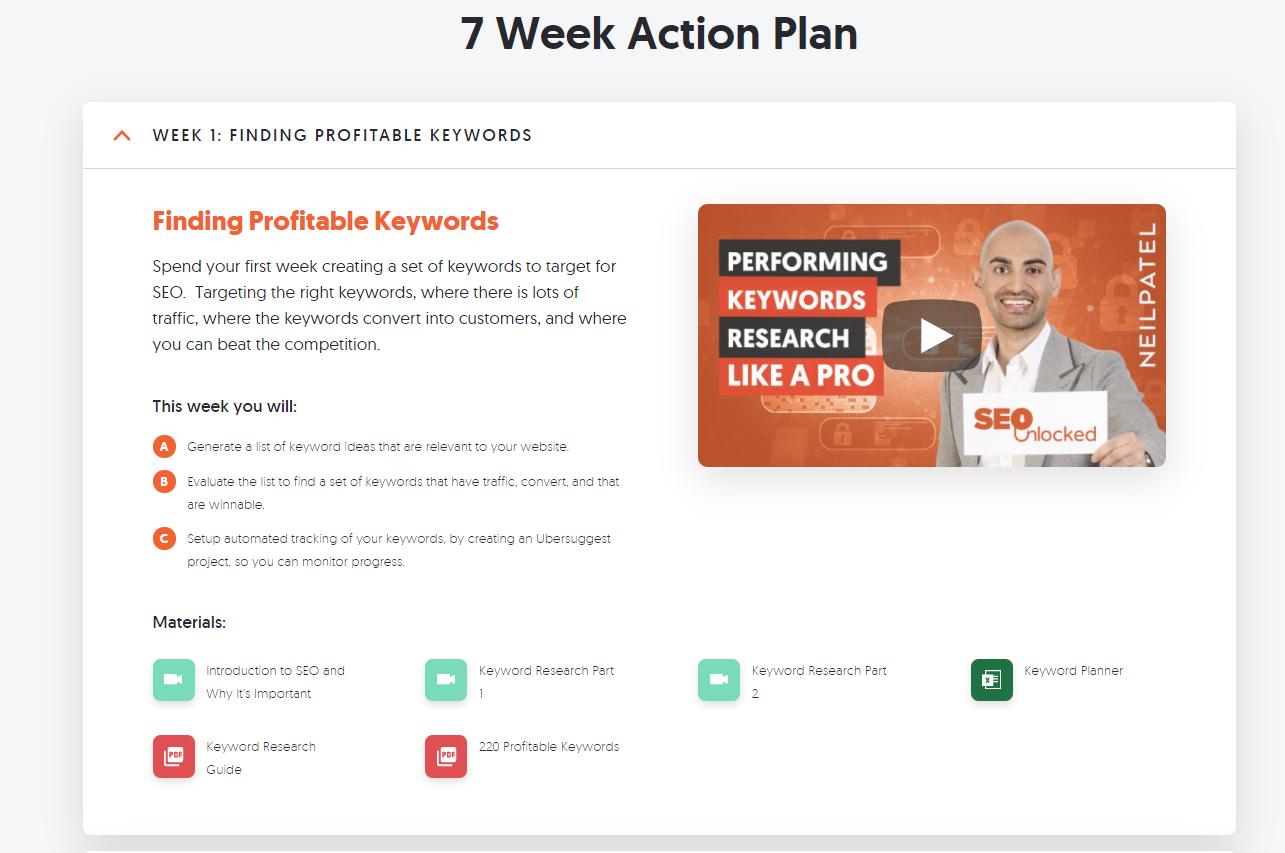 Ubersuggest 7 Week Action Plan