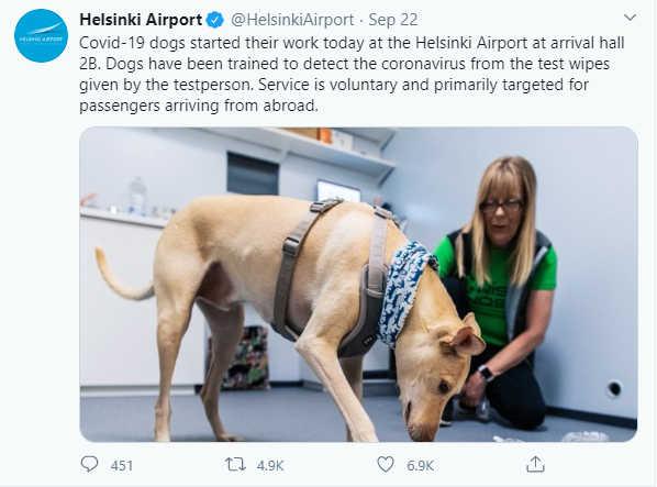 Screenshot from Helsinki Airport's Twitter account