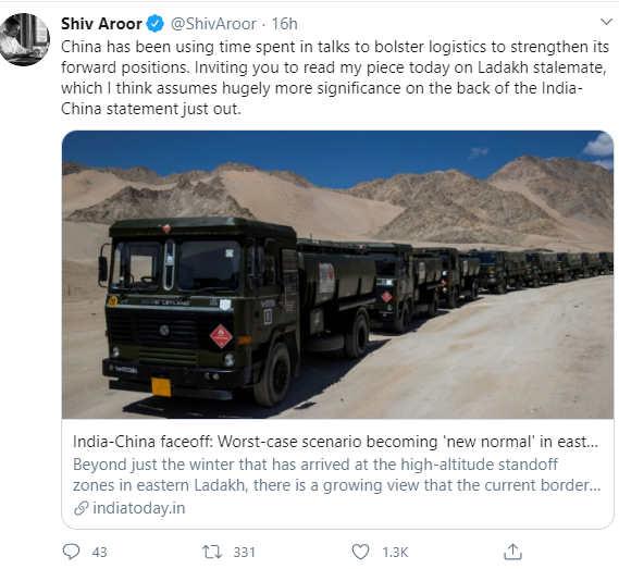 Screenshot from Shiv Aroor's Twitter