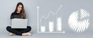 analytics charts business woman laptop computer