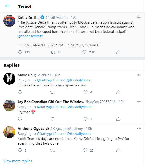 Screenshot from Kathy Griffin's Twitter account