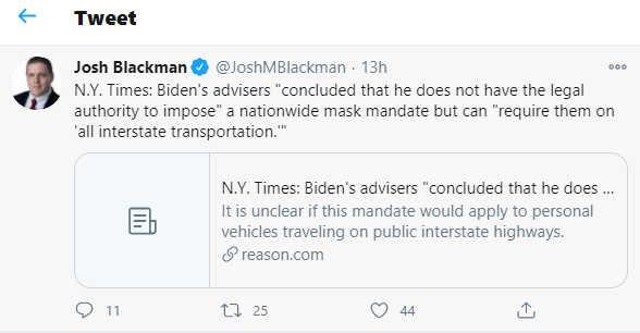 Screenshot from Josh Blackman's Twitter