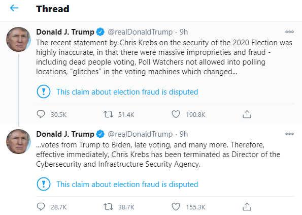 Screenshot from Donald Trump's Twitter