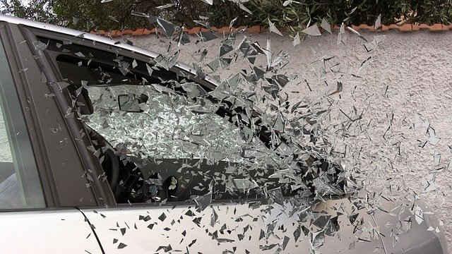 car accident broken glass splatter glass broken