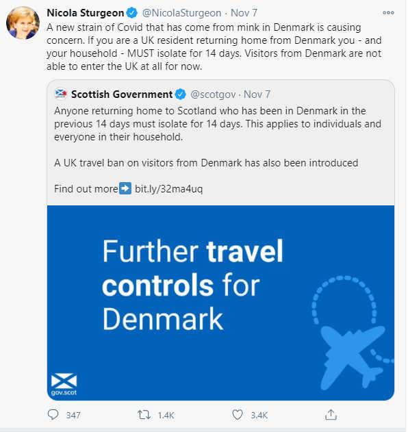 Screenshot from Nicola Sturgeon's Twitter account
