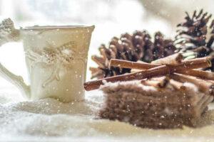 pine cones snow winter coffee tea cinnamon