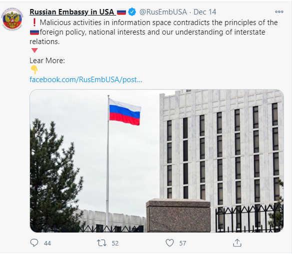 Screenshot from Russian Embassy in USA Twitter