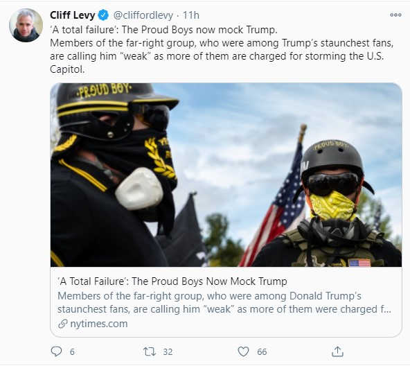 Screenshot from Cliff Levy Twitter