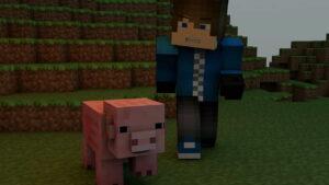 minecraft video game pig pixels blocks game pixel