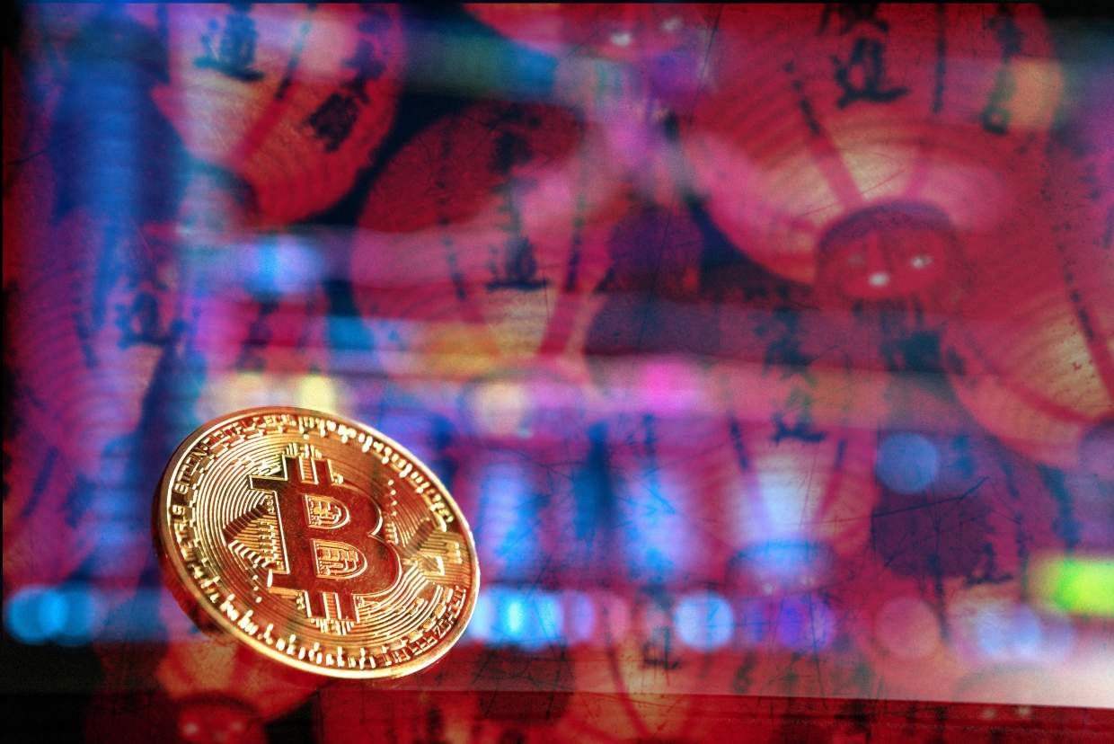 Bitcoin exchange overlay with Chinese lanterns