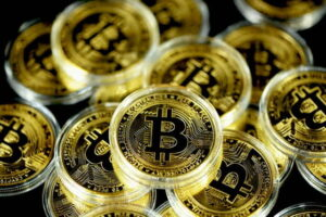 bitcoins fitted into round plastic covering