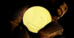 doge coin in gloved hand