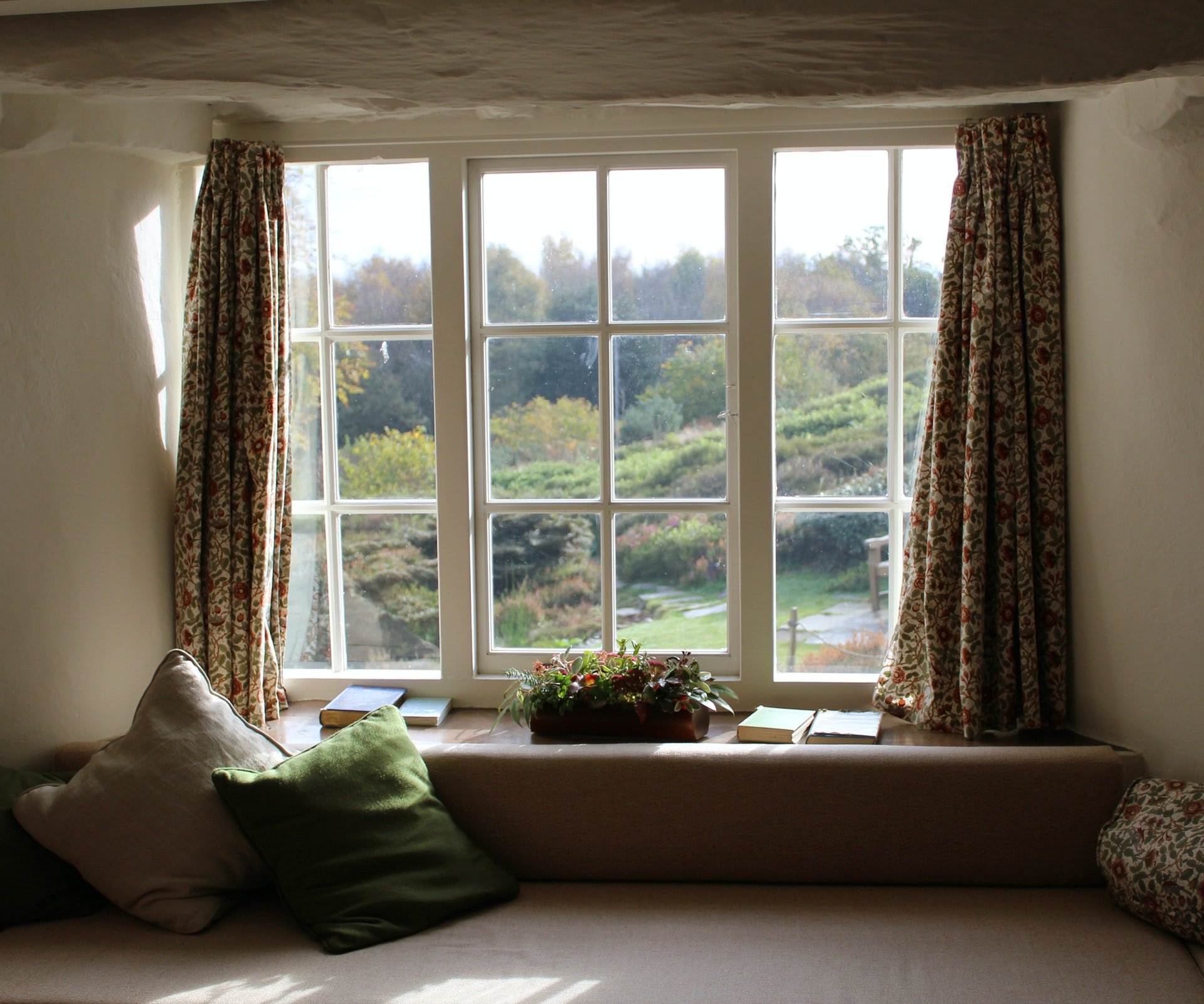 interior bay window overlooking forest
