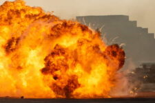 massive fire explosion close up in military combat and war