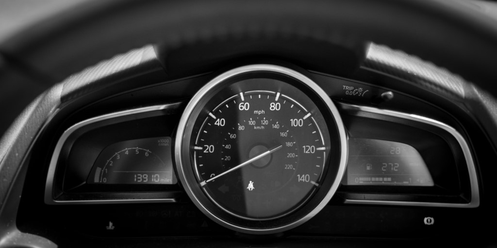 dashboard display with the silver and black contrast