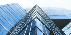 geometric office building urban glass structure