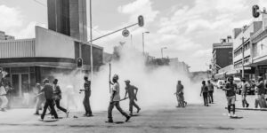 smoke street protest violence south africa