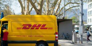 dhl delivery man transportation van moving van