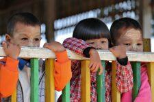 Schoolchildren Burmese School Burma Myanmar
